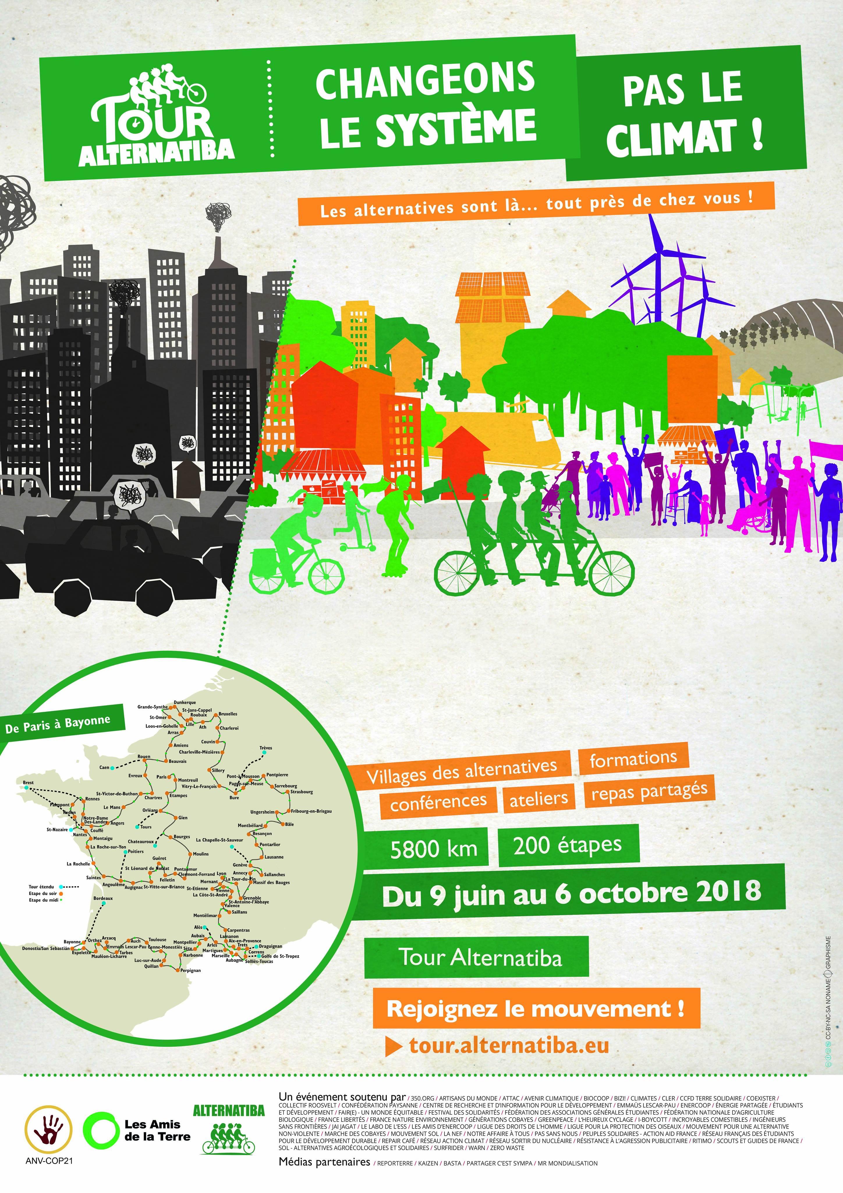 Affiche du tour alternatiba 2018 avec toutes les étapes en France