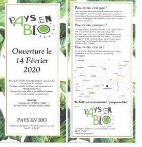 """Affiche de l'inauguration du magasin local et bio de Dompierre-sur-mer """"Pays en bio"""" le vendredi 14 février 2020"""
